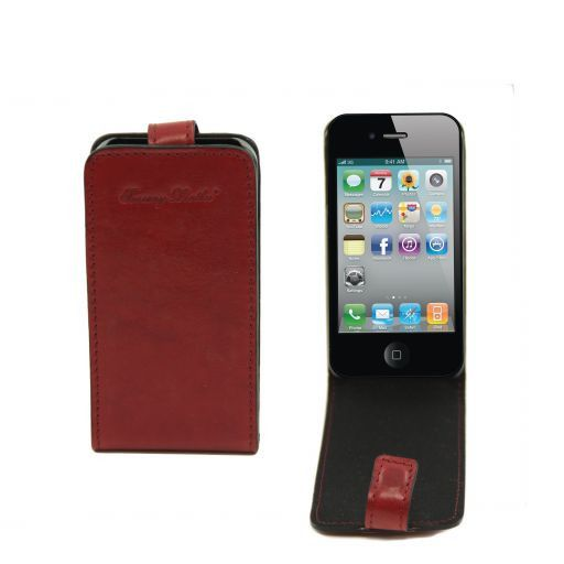 Cover iPhone4/4s in pelle Rosso TL141212
