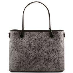 Atena Borsa shopping in pelle stampa floreale Grigio TL141655