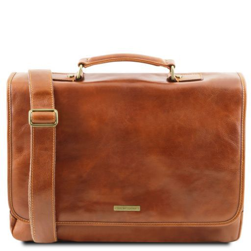 Mantova Leather multi compartment TL SMART briefcase with flap Honey TL141450