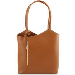 Patty Saffiano leather convertible bag Cognac TL141455