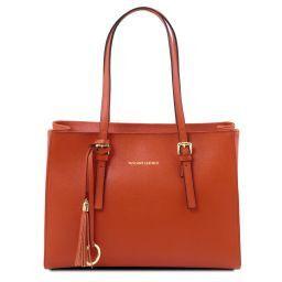 TL Bag Schultertasche aus Saffiano Leder Brandy TL141518