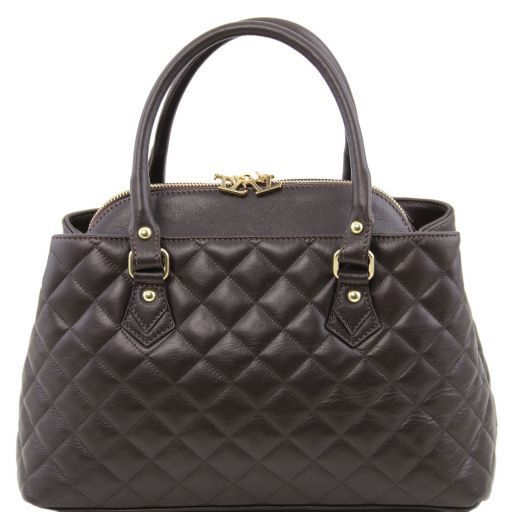 TL KeyLuck Soft quilted leather duffle bag Dark Brown TL141222