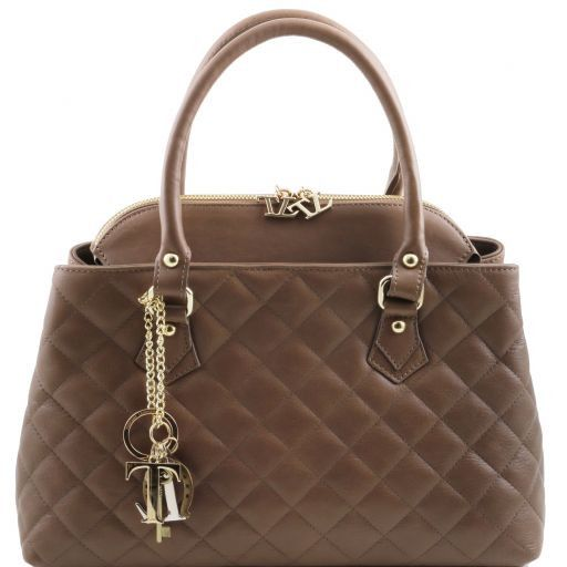 TL KeyLuck Soft quilted leather duffle bag Dark Taupe TL141222