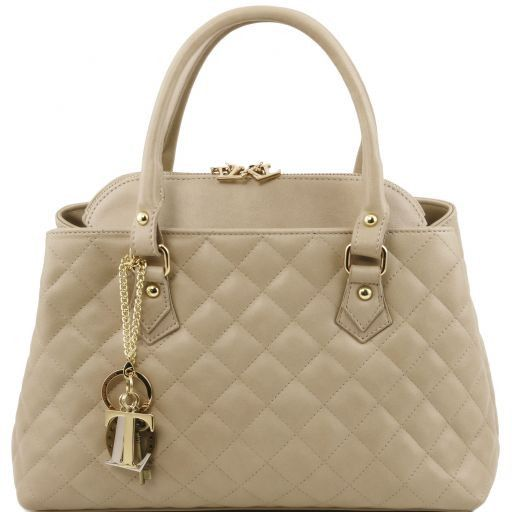 TL KeyLuck Soft quilted leather duffle bag Beige TL141222