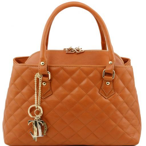 TL KeyLuck Soft quilted leather duffle bag Cognac TL141222
