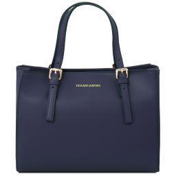 Aura Handtasche aus Leder Dunkelblau TL141434