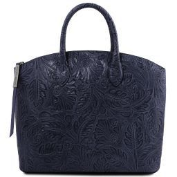 Gaia Shopper Tasche aus Leder mit Blumenmuster Dunkelblau TL141670