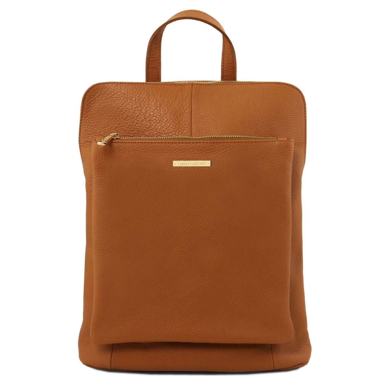 TL Bag Soft Leather Backpack for Women Cognac TL141682 b397f8eddf539