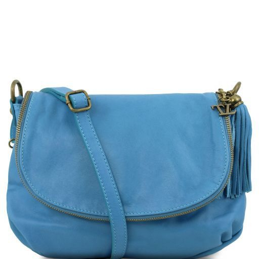 29402e0cf645 TL Bag Soft Leather Shoulder bag With Tassel Detail Light Blue TL141223