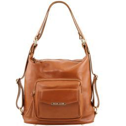 TL Bag Bolso de señora en piel convertible en mochila Cognac TL141535