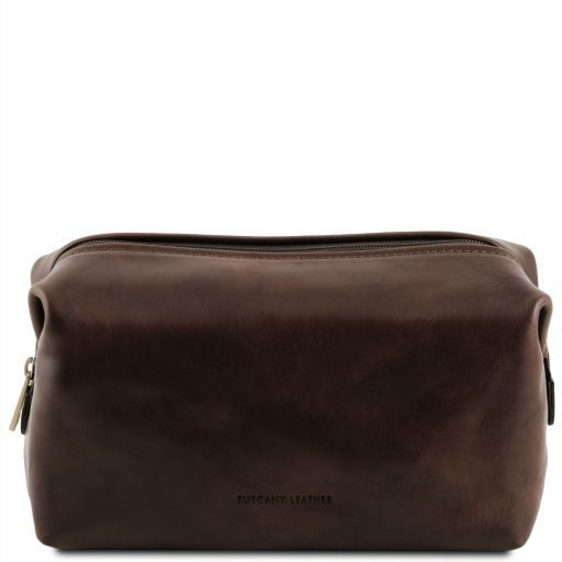 Smarty Leather toilet bag - Large size Dark Brown TL141219
