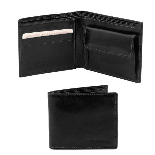 Elegante cartera de señor en piel con monedero Negro TL140761
