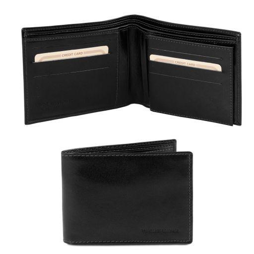 Exklusive Herren Brieftasche aus Leder mit zwei Scheinfächern Schwarz TL140817
