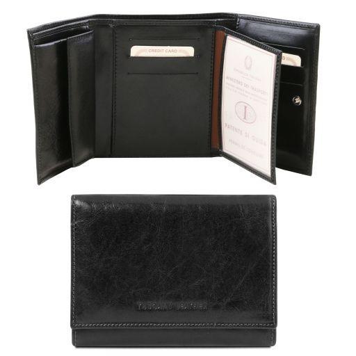 Elegante monedero de mujer en piel Negro TL140790
