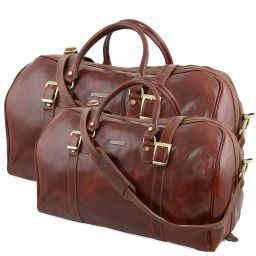 Berlin Leather travel set Brown TL10175