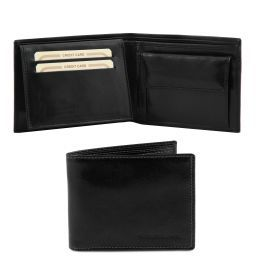 Exclusive 3 fold leather wallet for men with coin pocket Black TL140763