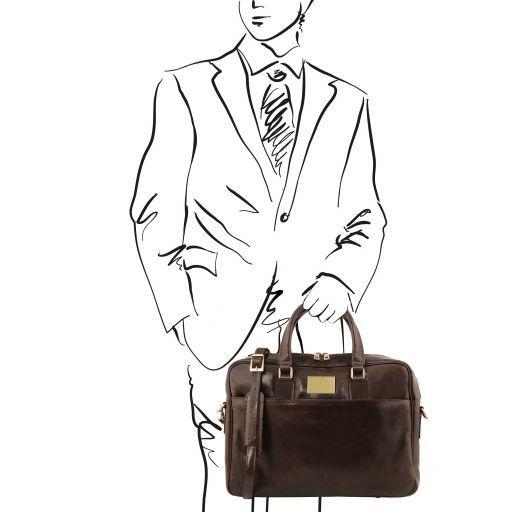Urbino Cartella in pelle porta computer con tasca frontale Testa di Moro TL141241