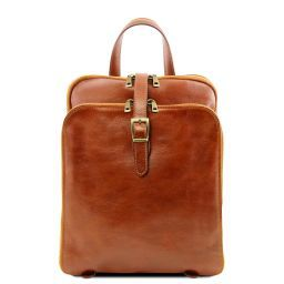 Taipei 3 Compartments leather backpack Honey TL141239