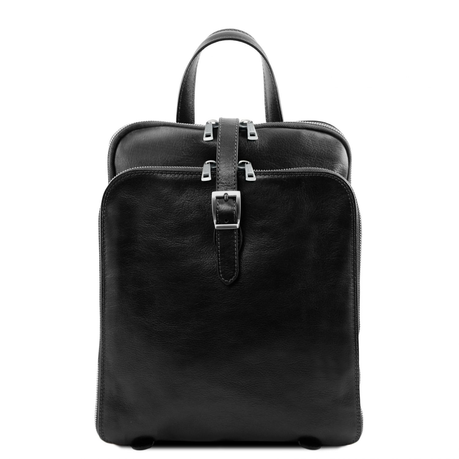 Abbildung von 3 Compartments leather backpack Black