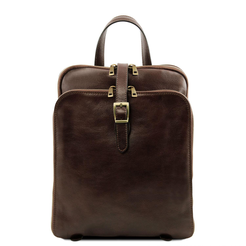 Bild av 3 Compartments leather backpack Dark Brown