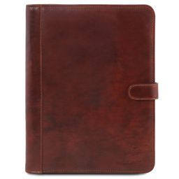 Adriano Leather document case with button closure Brown TL141275