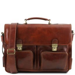 Ventimiglia Leather multi compartment TL SMART briefcase with front pockets Коричневый TL141449