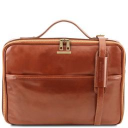 Vicenza Leather laptop briefcase with zip closure Honey TL141240