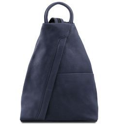 Shanghai Рюкзак из мягкой кожи Темно-синий TL140963