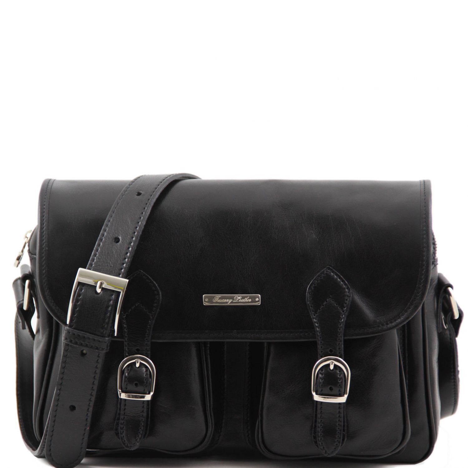 San Marino Travel Leather Bag With Pockets On The Front