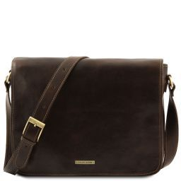 Messenger double Freestyle leather bag Dark Brown TL90475