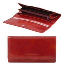 Exclusive leather accordion wallet for women Red TL140787