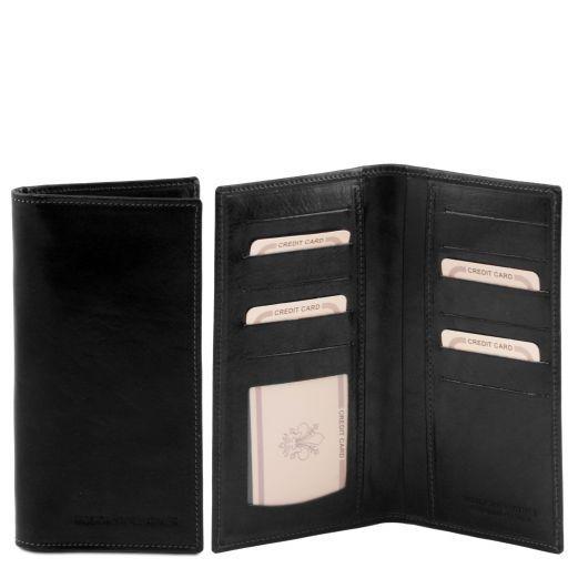 Exklusive Vertikal Herren Brieftasche aus Leder Schwarz TL140784