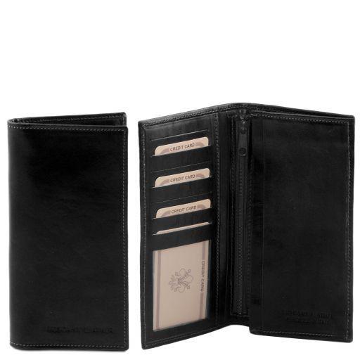 Esclusivo portafoglio verticale in pelle uomo 2 ante Nero TL140777