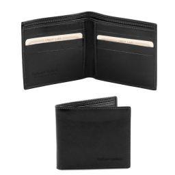 Esclusivo portafoglio uomo in pelle 2 ante Nero TL140797