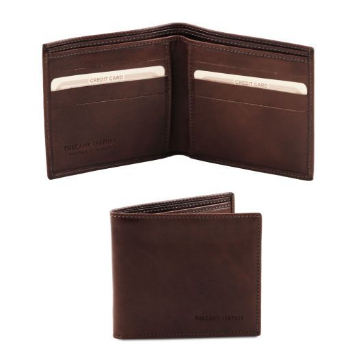 Эксклюзивный кожаный бумажник двойного сложения для мужчин Темно-коричневый TL140797