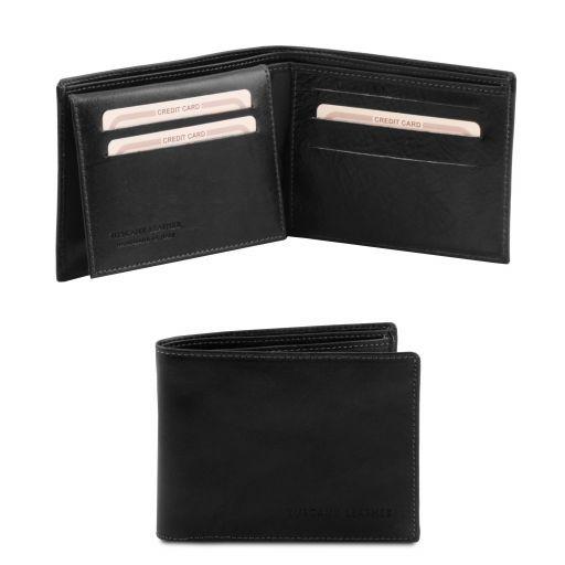 Esclusivo portafoglio uomo in pelle 3 ante Nero TL140760