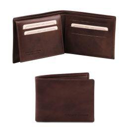 Elegante cartera de señor en piel Marrón oscuro TL140760