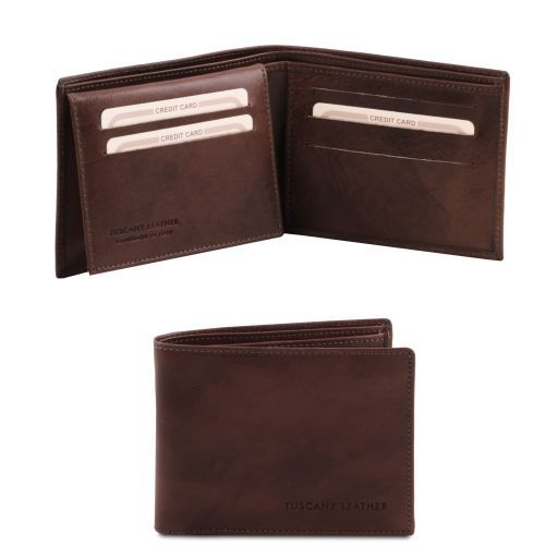 Exclusive 3 fold leather wallet for men Dark Brown TL140760