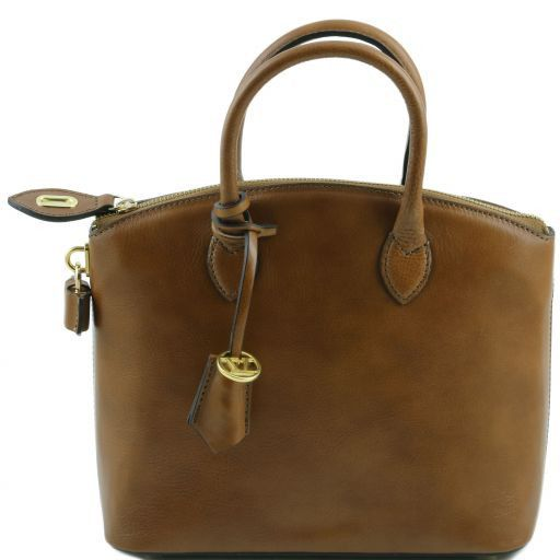 TL Bag Leather tote - Small size Dark Taupe TL141264