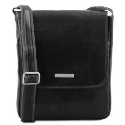 John Leather crossbody bag for men with front zip pocket Черный TL141408