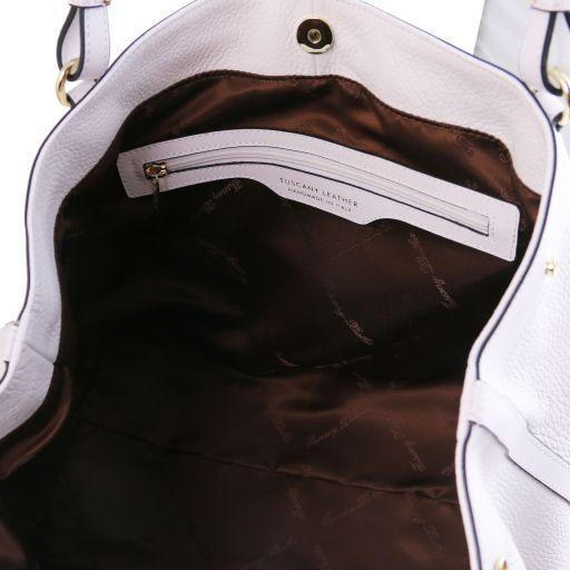Ambrosia Sac shopping en cuir souple avec bandoulière Blanc TL141516