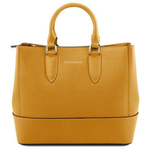 TL Bag Leather Handbag With Golden Hardware Fucsia