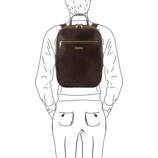 Osaka Leather laptop backpack Dark Brown TL141711