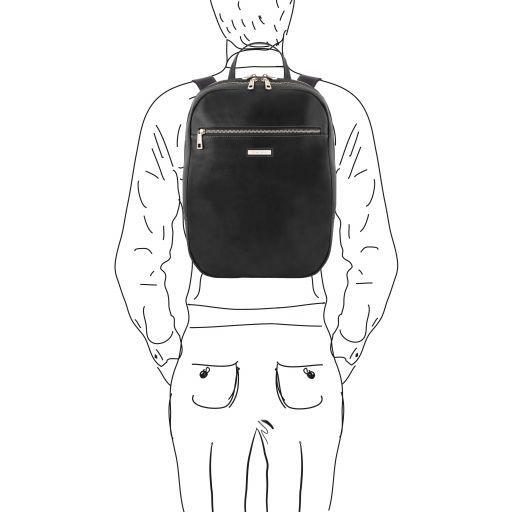 Osaka Notebook Rucksack aus Leder Schwarz TL141711