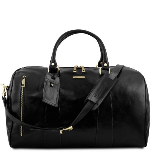 TL Voyager Travel leather duffle bag - Large size Black TL141794