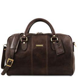 Lisbona Дорожная кожаная сумка-даффл - Маленький размер Темно-коричневый TL141658