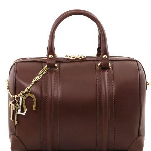 TL KeyLuck Bauletto in pelle morbida con accessori color oro Marrone TL141284