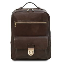 Kyoto Leather laptop backpack Dark Brown TL141859