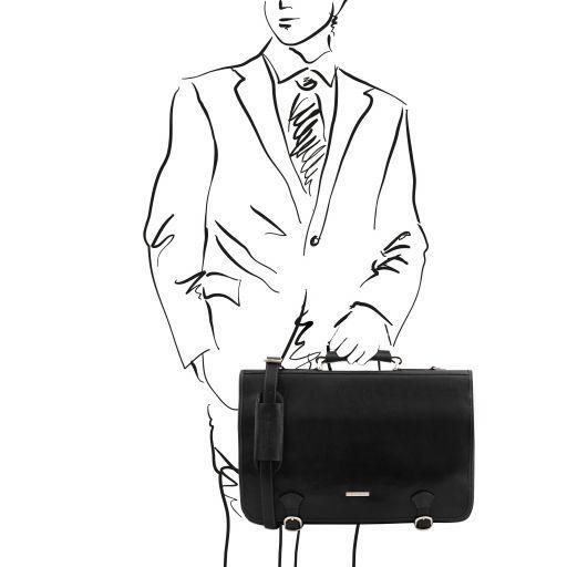Ancona Messenger Tasche aus Leder Schwarz TL141853