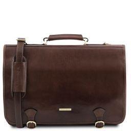 Ancona Leather messenger bag Dark Brown TL141853